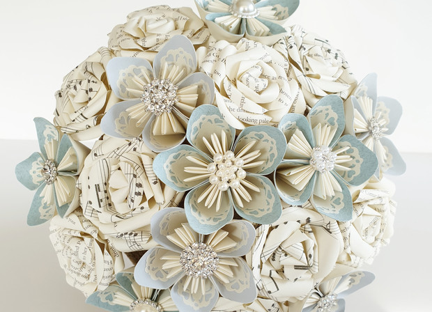 Book and Brooch paper flower bouquet
