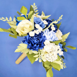 Blue and White wedding theme bouquet paper flowers