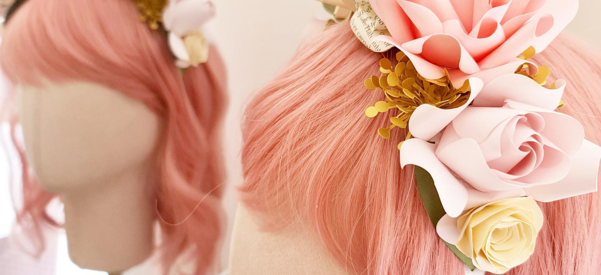 Flower Crown Paper Roses Pink Hair Bride