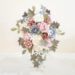Cascade pastel pink blue paper flower bouquet