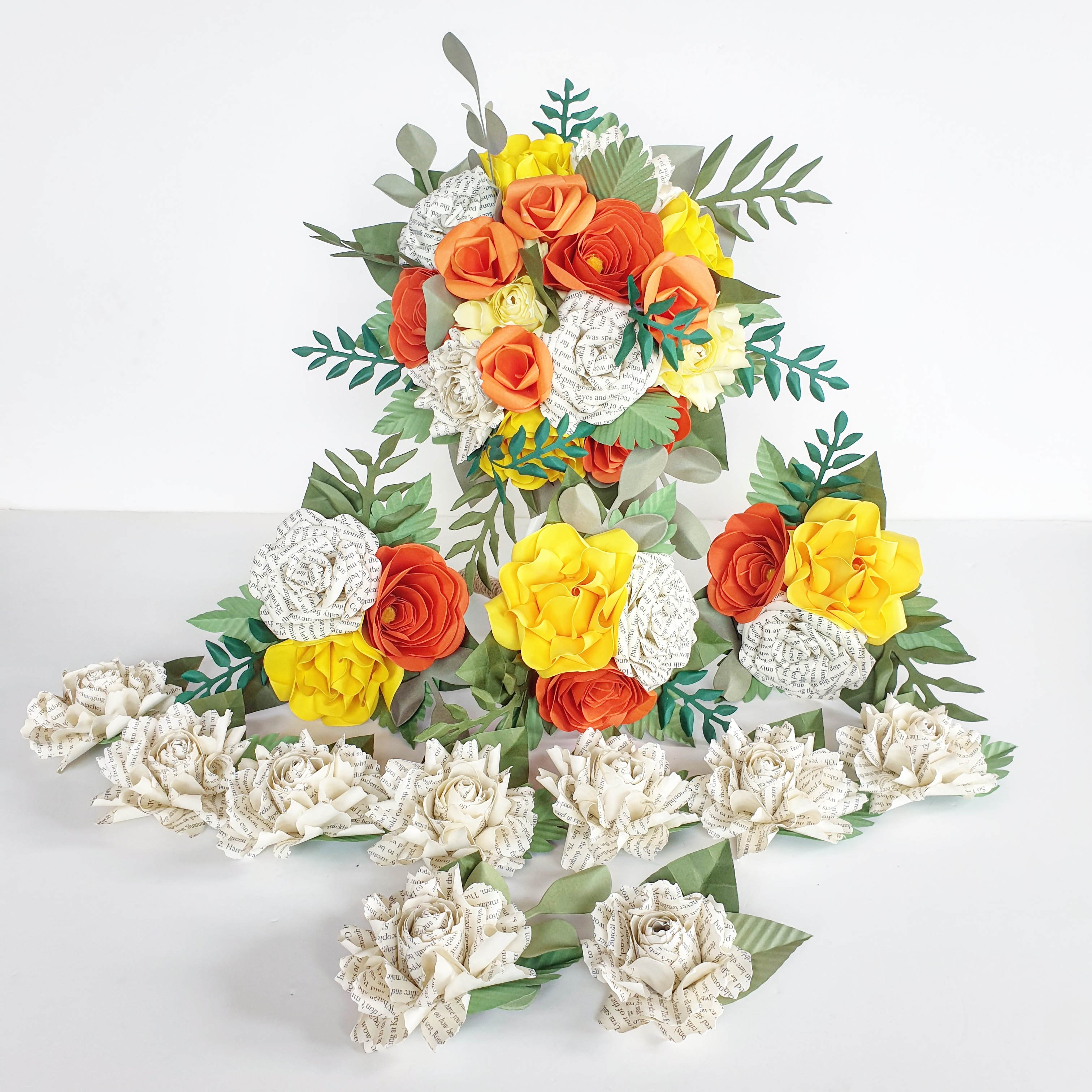 Tropical yellow orange green theme wedding paper flower bouquet