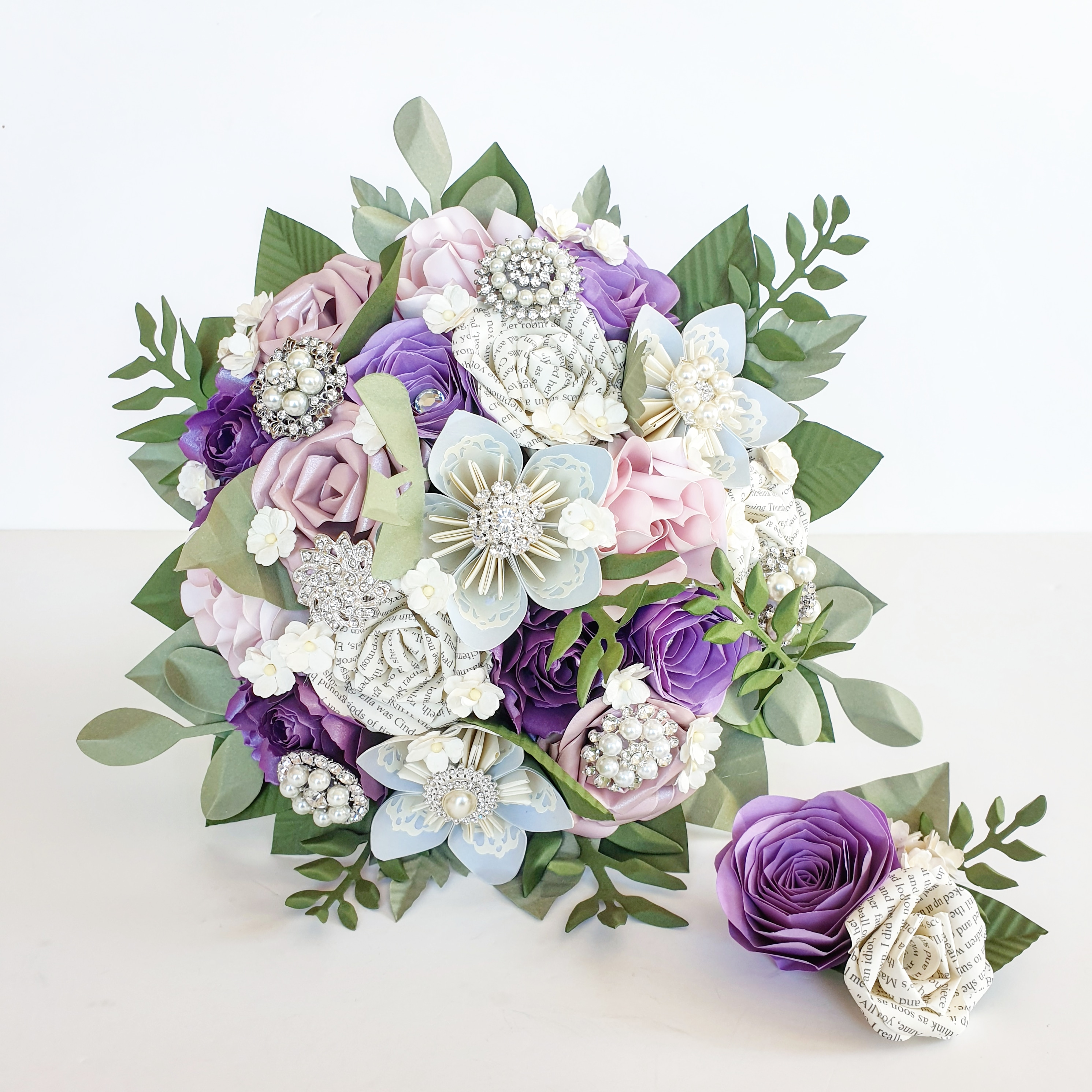 Pink purple lilac theme wedding bride flowers bouquet paper book