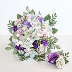 Pink purple lilac theme wedding bride flowers bouquet paper book