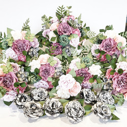 Pink and Green paper flower wedding bouquet theme