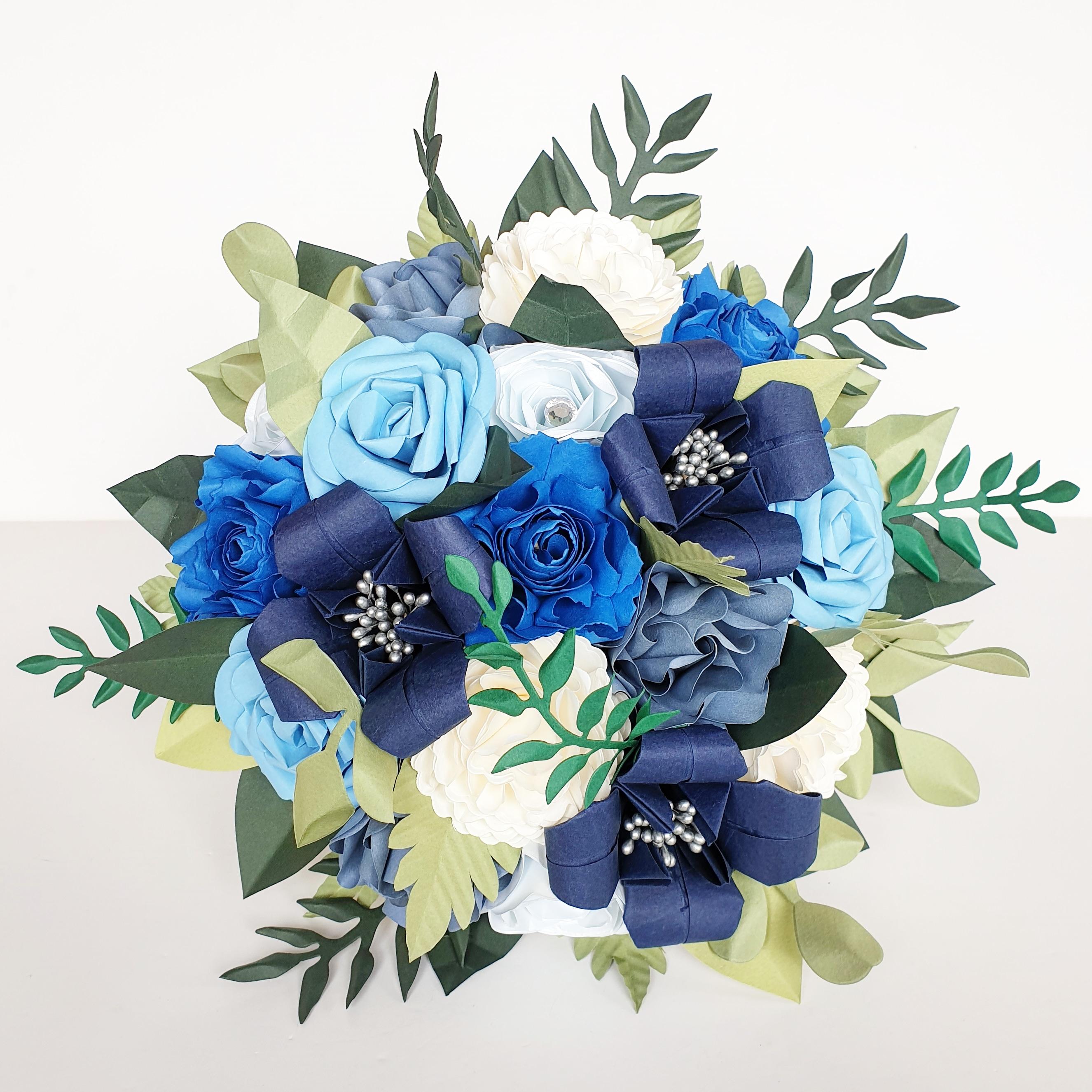 Blue bouquet wedding flowers paper ideas theme styling