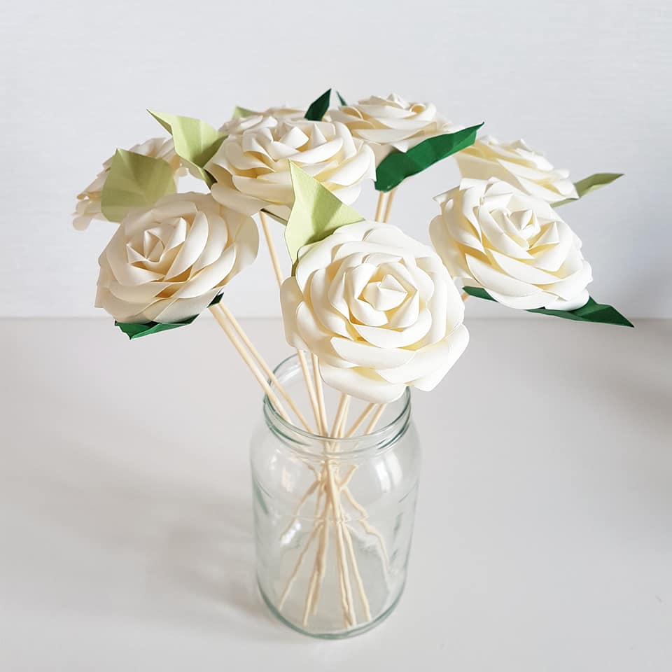 Paper rose table decorations