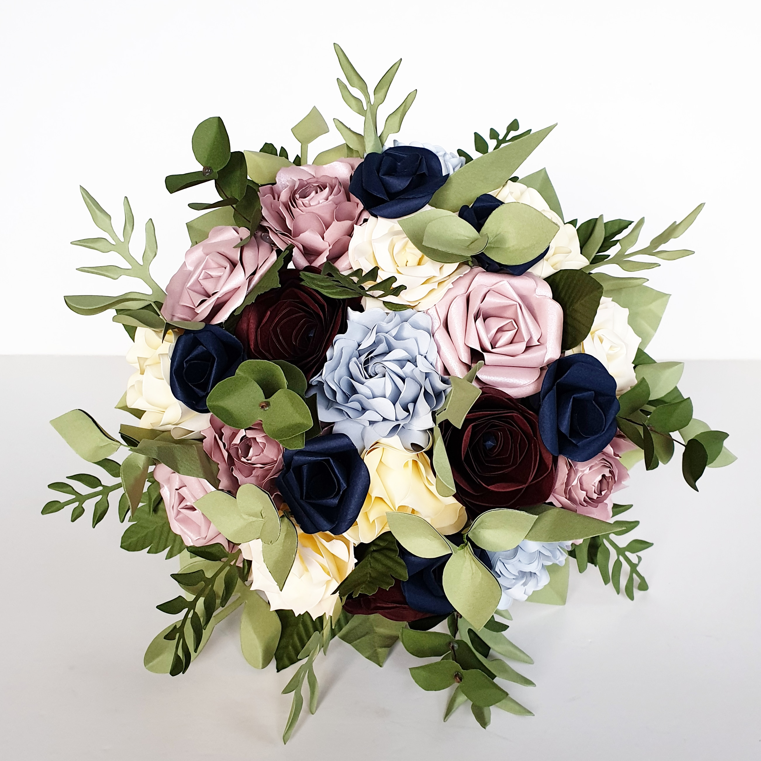 paper flower wedding bouquet flowers navy burgundy
