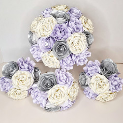 Silver Lilac paper flower wedding bouquet