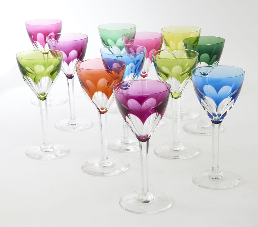 "A harlequin set of 12 Val St Lambert ""Nestor"" tall stemmed coloured wine glasses c.1950. Image courtesy of Guinevere London."