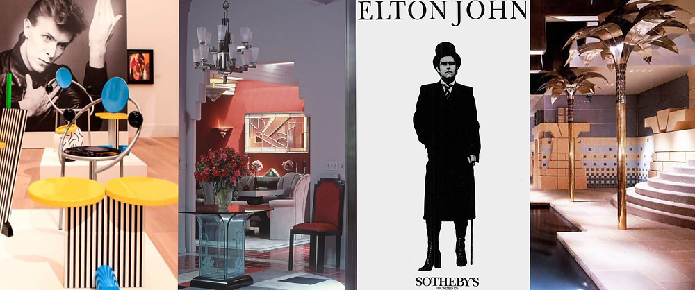"1. Installation view of works by Memphis at the exhibition ""Bowie/Collector"" at Sotheby's London. 2. Barbara Streisand's Malibu Home - Architectural Digest © Condé Nast. 3. The Elton John Sotheby's Box Set. 4. Robert A.M. Stern, Residence at Llewellyn Park, Poolhouse, Llewellyn Park, New Jersey, 1981-1982. Source: Pinterest"