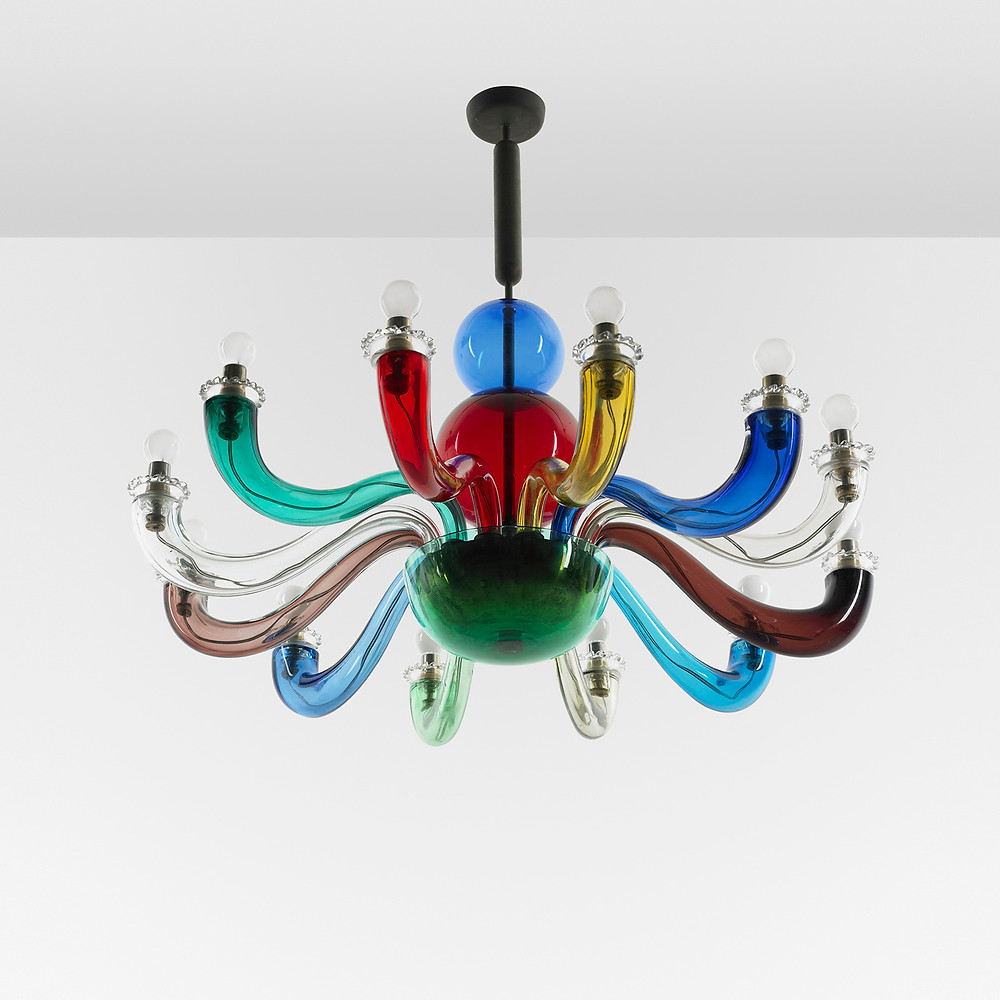 Gio Ponti. Important and early chandelier from the Ponti residence, Liguria Venini Italy, 1946 hand-blown coloured glass, brass, steel  estimate: $50,000–$70,000 result: $68,500. Source: wright20.com