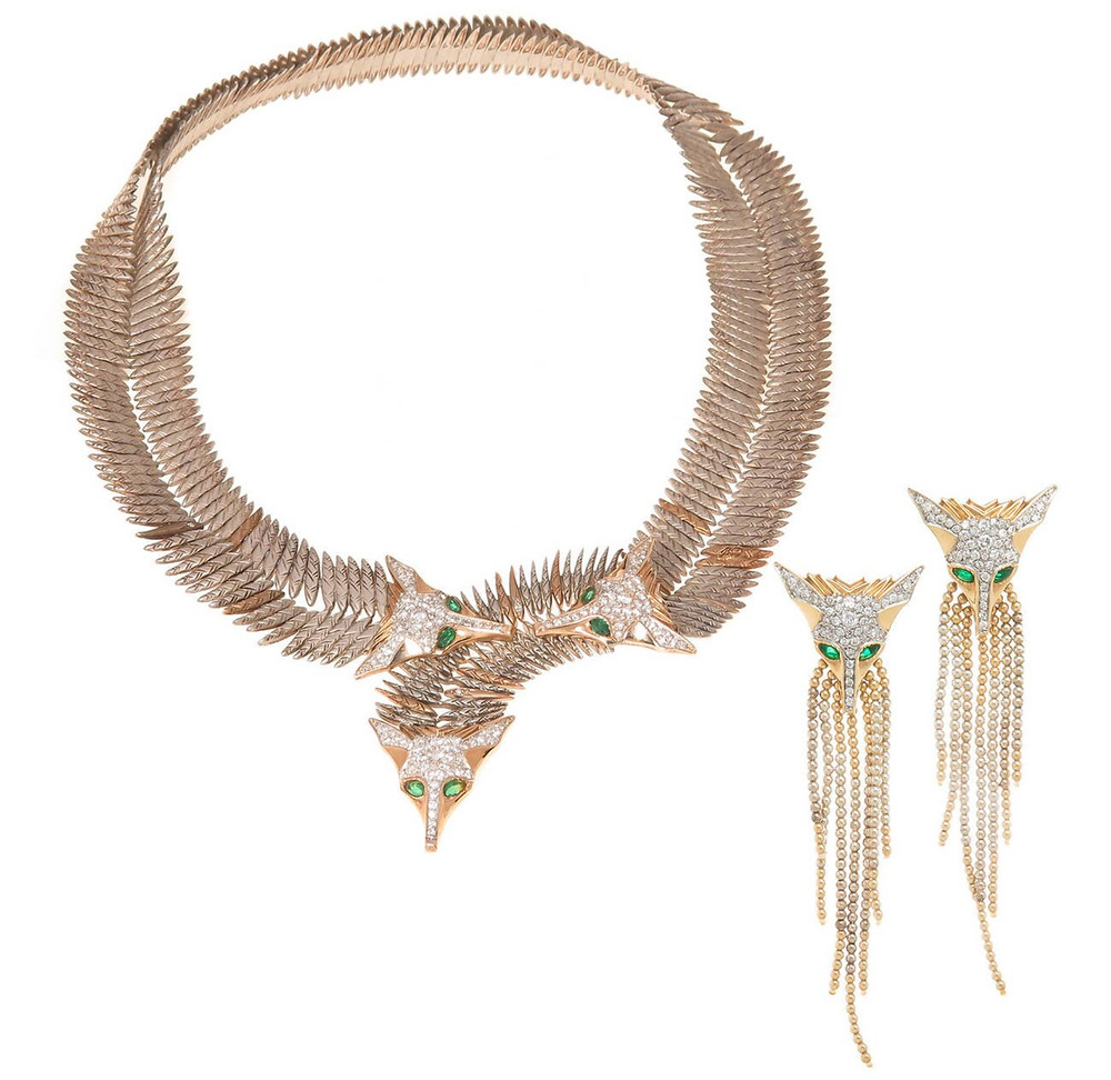 Foxes necklace with gold, silver, diamonds and emeralds by Erté. Source: Pinterest via lostinjewels.com