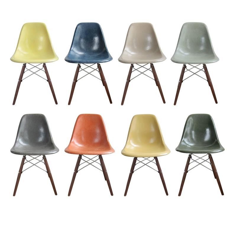 Multicoloured Eames Herman Miller DSW Dinning Chairs