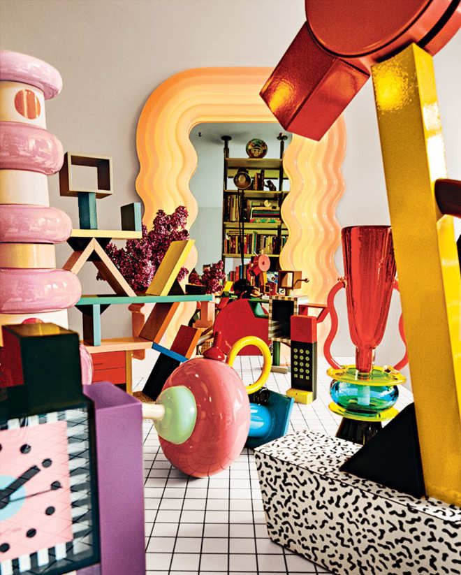 The Memphis-filled apartment of Raquel Cayre. Photo: Bobby Doherty/New York Magazine.