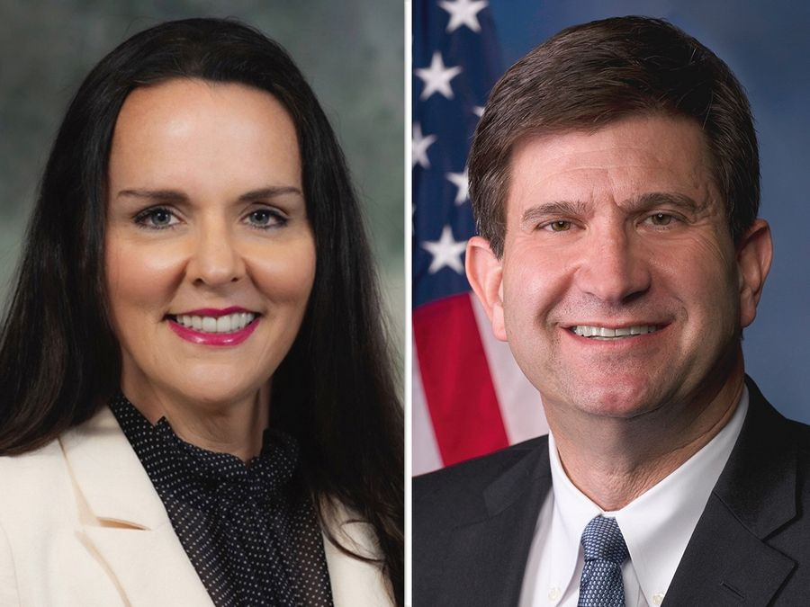 Republican Valerie Ramirez Mukherjee, left, and Democrat Brad Schneider