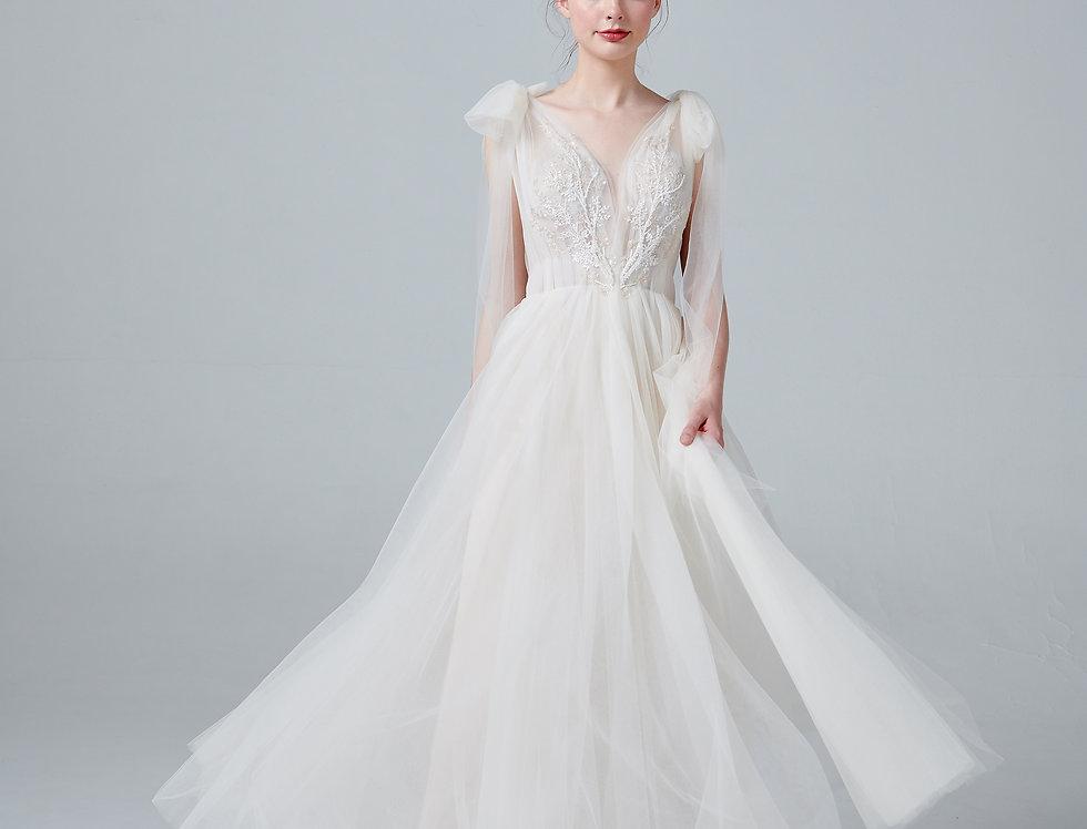 White full wedding bridal front view