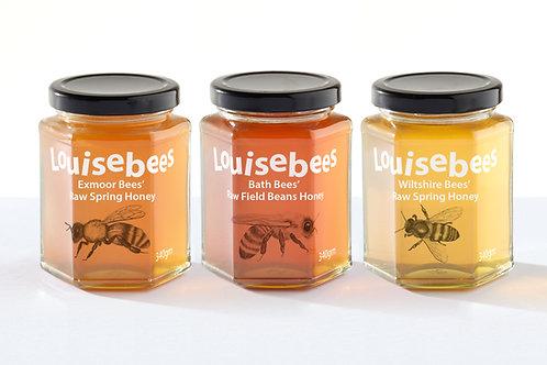 340gm Raw West Country Honey Trio Giftbox