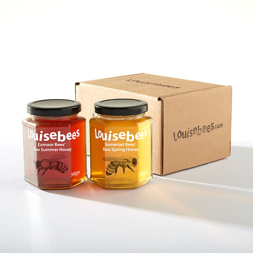 340gm Raw West Country Honey Duo Giftbox