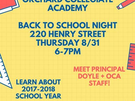 Back To School Night 8/31 6PM