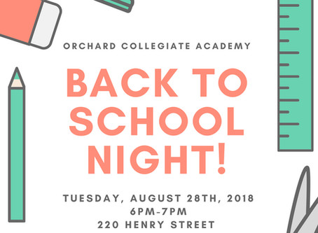 Back to School Night! August 28th