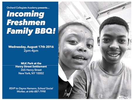 FAMILY BBQ For Incoming Freshmen- August 17th!