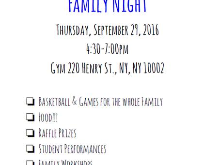 FAMILY NIGHT-SEPTEMBER 29TH! 4-7PM