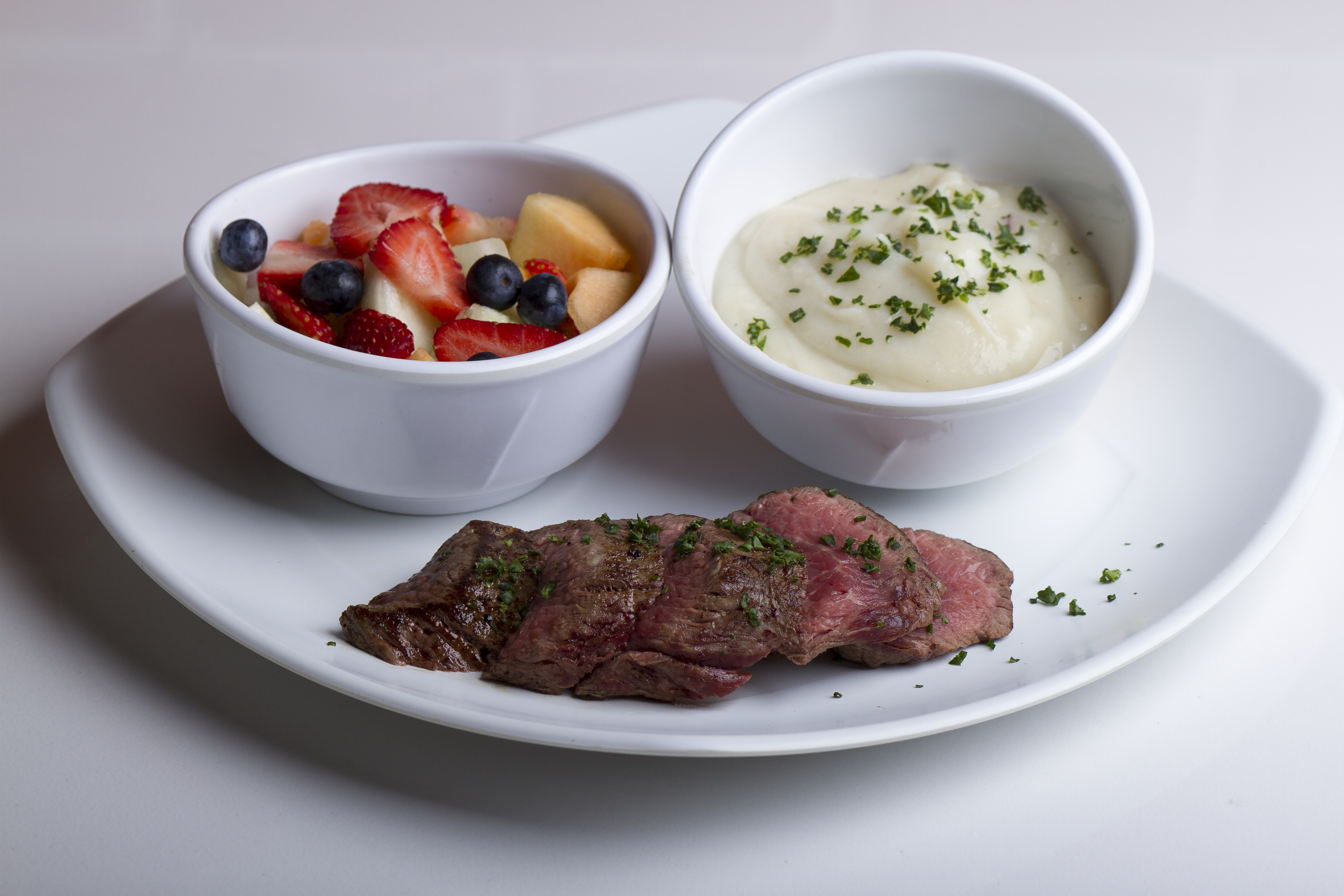Tenderloin, Fruit Salad and Cauliflower Mash Build Your Own Meal