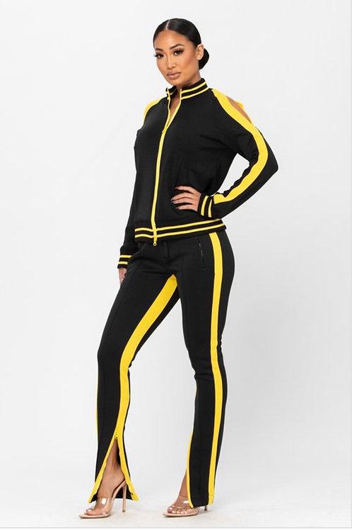 2pc Track Suit w/ Cold Shoulder
