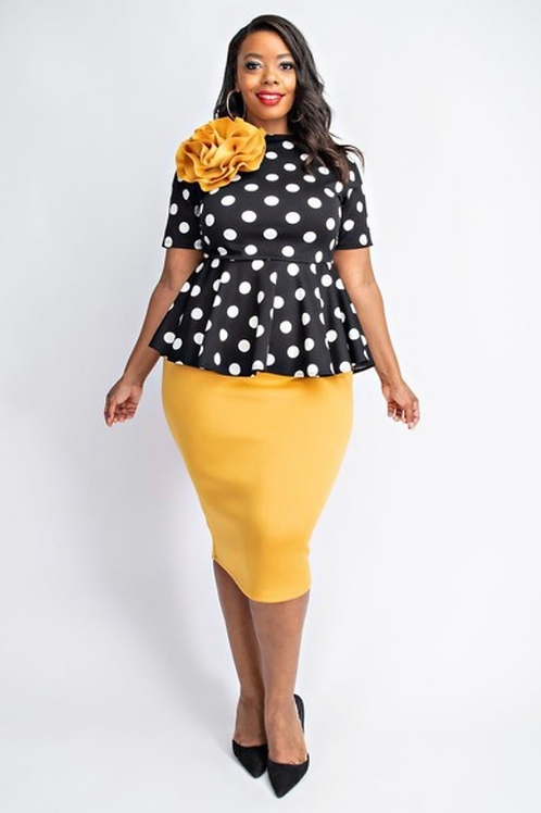 Polka Dot Peplum Midi Dress w/ Flower