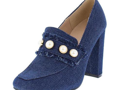 Denim Pearl Loafer Frayed Chunky Heel