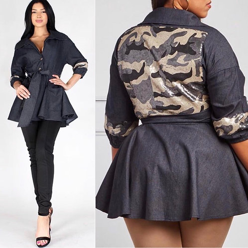 Peplum Jacket w/ Sequin Embellishments