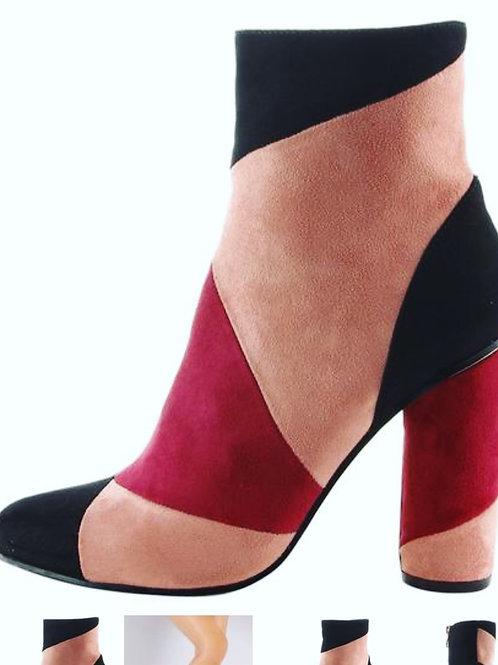 Berry Color-Block Chunky Heel