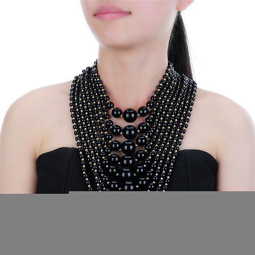 Faux Pearl Multi Layered Necklace (Black)