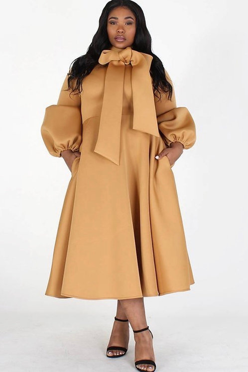 The Solid Bow Tie Statement Dress