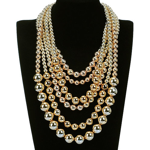 Multi Layered Faux Bead Statement Necklace