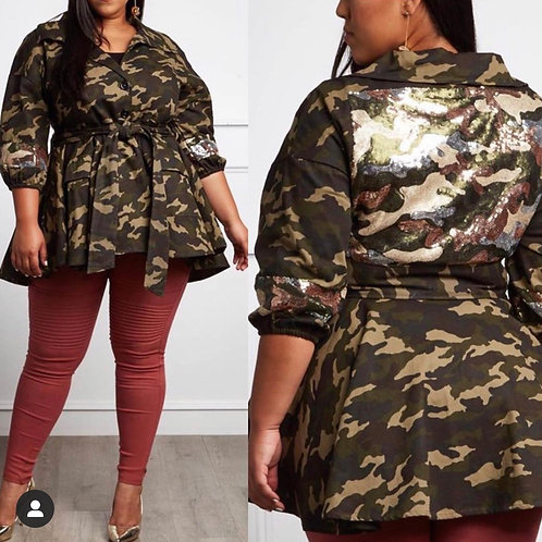 Camo Sequin Belted Jacket/ Belt