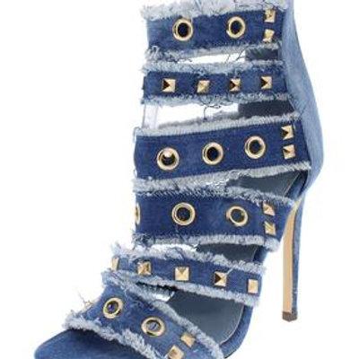 Open Toe Denim Frayed Embellished Heel