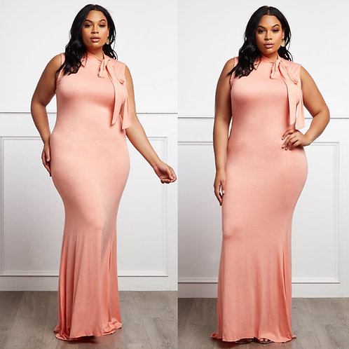 Side Tie Statement Maxi Dress