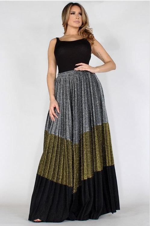 Glitter Block Hi Waisted Maxi Skirt
