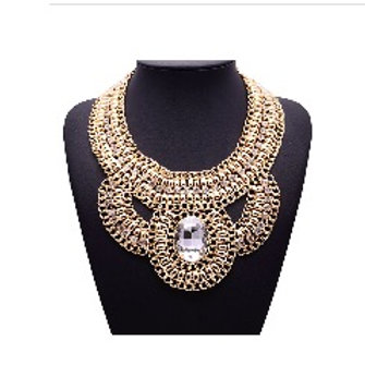Vintage Statement Crystal Bib Necklace