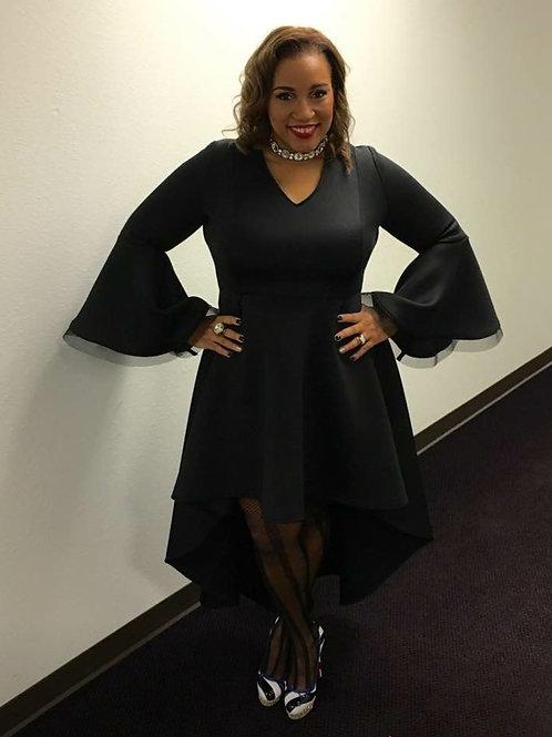 Lady Joy Belle Sleeve Hi Lo Dress