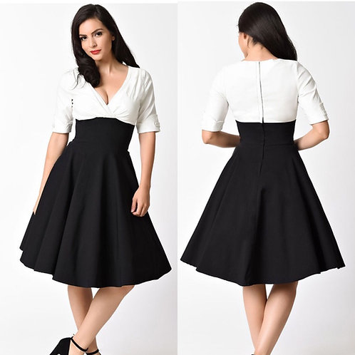 Delores Black and White Swing Dress