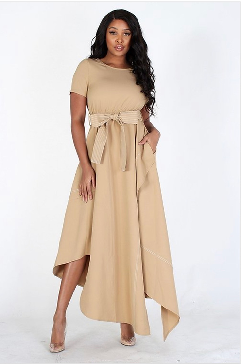 Asymetrical Belted Statment Dress