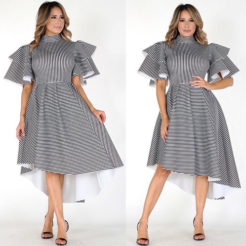 Stripped Flounce Sleeve Statement Dress