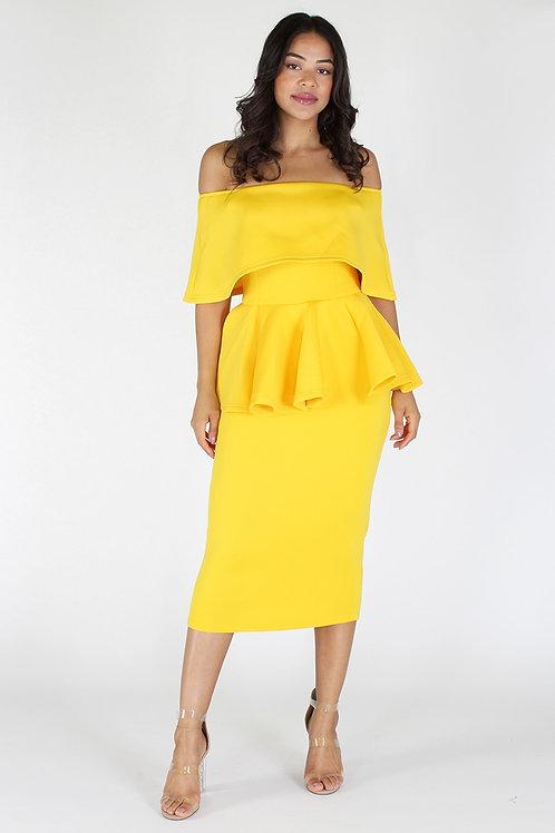 Michelle Off The Shoulder Peplum Dress