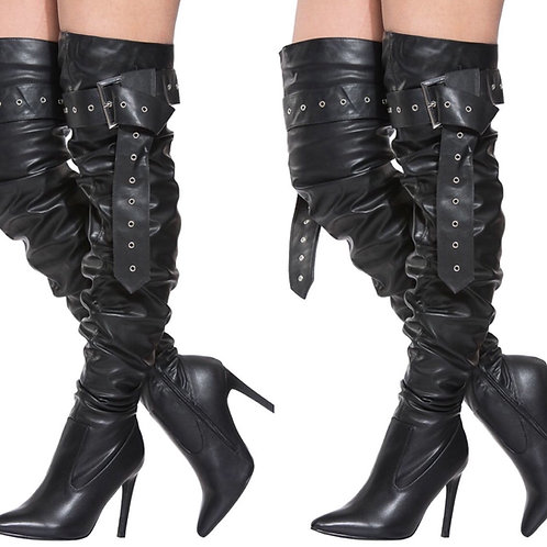 Over The Knee Buckle Riding Boots