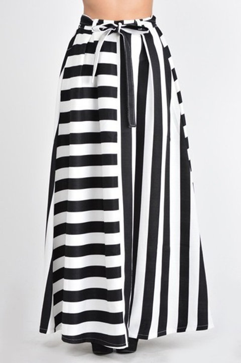 Stripe Maxi Flare A-Line Skirt
