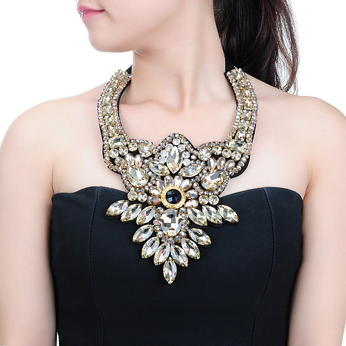 Crystal Bib Statement Necklace - Gold