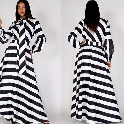 Stripped Bow Maxi Statement Dress