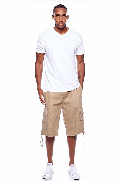 Mens Belted Khaki Shorts (Big and Tall)